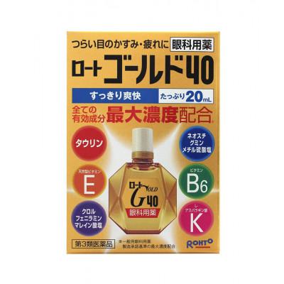 Японские возрастные капли для глаз Rohto Gold 40