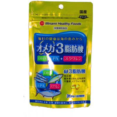 Японские омега 3 жирные кислоты со скваленом Minami